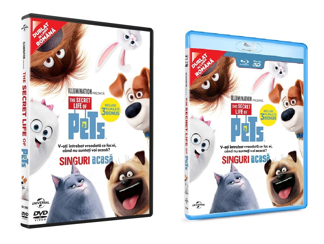 "Animația ""Secret Life of Pets"" / ""Singuri acasă"", acum pe DVD și BluRay"